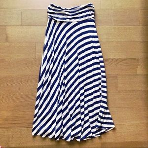 Downeast Navy Blue Striped Maxi Skirt